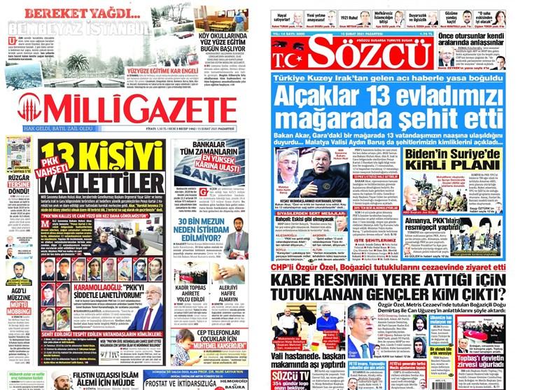 نشریات ترکیه| جنایت وحشتناک پ.ک.ک در غار/ نقشه پلید بایدن در سوریه